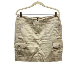 WHBM Shiny Khaki Embellished Mini Skirt L